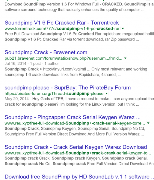 SP crack search result
